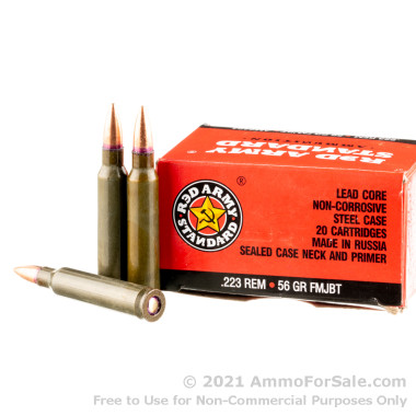 20 Rounds of 56gr FMJBT .223 Rem Ammo by Red Army Standard