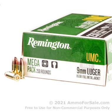 250 Rounds of 115gr MC 9mm Ammo by Remington