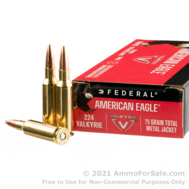 20 Rounds of 75gr TMJ .224 Valkyrie Ammo by Federal