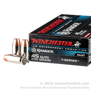 500  Rounds of 230gr JHP .45 ACP Ammo by Winchester Ranger T-Series
