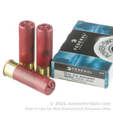 "250 Rounds of 3"" #00 Buck 12ga Ammo by Federal Power-Shok"