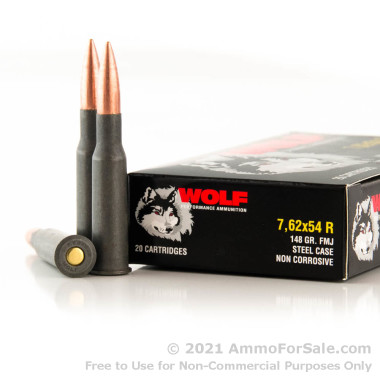 500  Rounds of 148gr FMJ 7.62x54r Ammo by Wolf