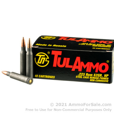 40 Rounds of 62gr HP .223 Ammo by Tula