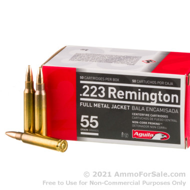 50 Rounds of 55gr FMJ .223 Ammo by Aguila