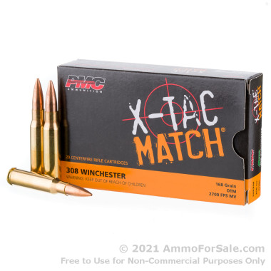 20 Rounds of 168 Grain Sierra MatchKing OTM .308 Win Ammo by PMC