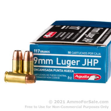 50 Rounds of 117gr JHP 9mm Ammo by Aguila