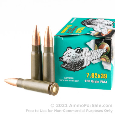 500  Rounds of 123gr FMJ 7.62x39mm Ammo by Brown Bear