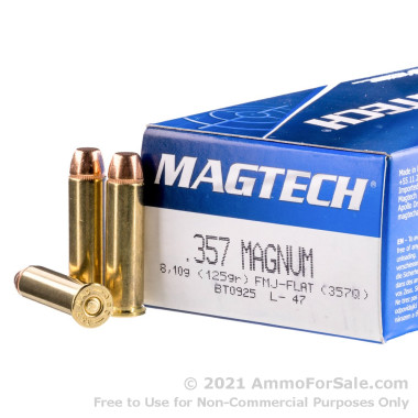 50 Rounds of 125gr FMC .357 Mag Ammo by Magtech