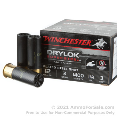 25 Rounds of 1 1/4 ounce #3 shot 12ga Ammo by Winchester Drylok Super Steel Magnum