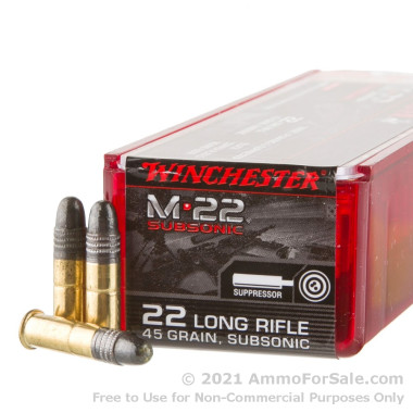 100 Rounds of 45gr RN .22 LR Ammo by Winchester M-22 Subsonic