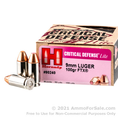 250 Rounds of 100gr FTX 9mm Ammo by Hornady