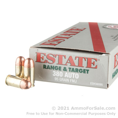50 Rounds of 95gr FMJ .380 ACP Ammo by Estate Cartridge