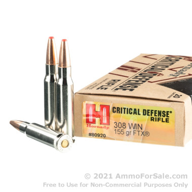 20 Rounds of 155gr FTX .308 Win Ammo by Hornady