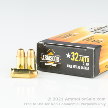 50 Rounds of 71gr FMJ .32 ACP Ammo by Armscor