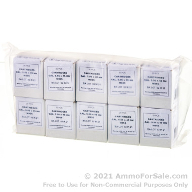 200 Rounds of 62gr FMJ M855 5.56x45 Ammo by Igman