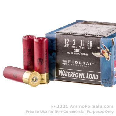 """250 Rounds of 3"""" 1 1/4 ounce BB Shot 12ga Ammo by Federal Speed-Shok"""