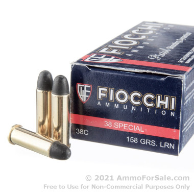 50 Rounds of 158gr LRN .38 Spl Ammo by Fiocchi