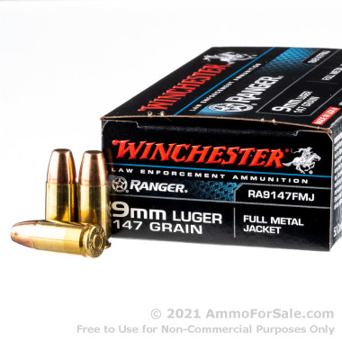 50 Rounds of 147gr FMJ 9mm Ammo by Winchester