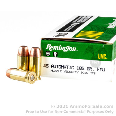 50 Rounds of 185gr MC .45 ACP Ammo by Remington