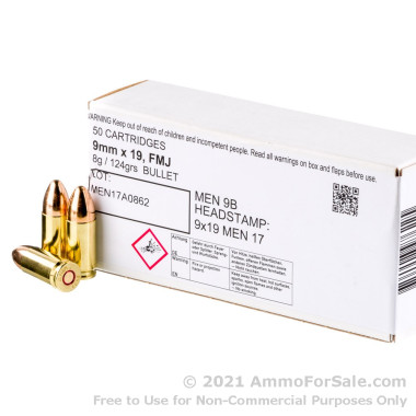 50 Rounds of 124gr FMJ 9mm Ammo by MEN