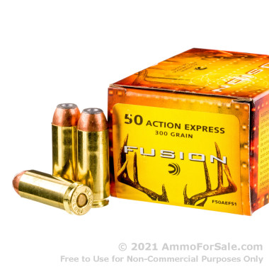 20 Rounds of 300 gr SP .50 Action Express Ammo by Federal Fusion