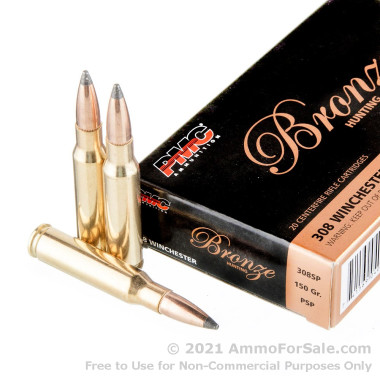 800 Rounds of 150gr SP .308 Win Ammo by PMC Bronze Hunting