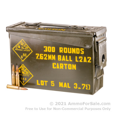300 Rounds of 146gr FMJ .308 Win Ammo by Malaysian Military Surplus in Steel Ammo Can
