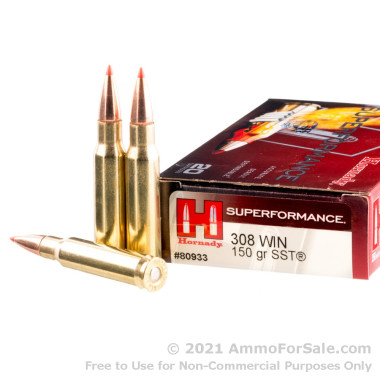 200 Rounds of 150gr SST .308 Win Ammo by Hornady Superformance
