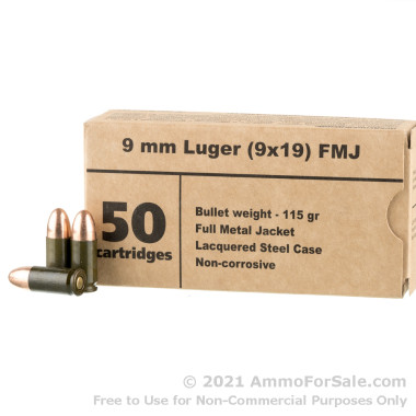 500 Rounds of 115gr FMJ 9mm Ammo by Barnaul