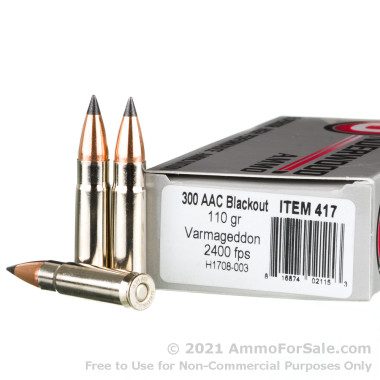 20 Rounds of 110gr Polymer Tip .300 AAC Blackout Ammo by Underwood