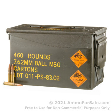 460 Rounds of 146gr FMJ 7.62x51mm Ammo in Ammo Can by PMC