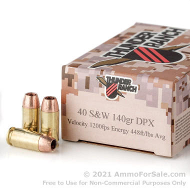 20 Rounds of 140gr DPX .40 S&W Ammo by Corbon Thunder Ranch