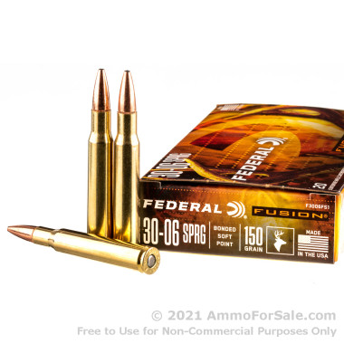 20 Rounds of 150gr Fusion 30-06 Springfield Ammo by Federal