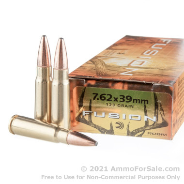 20 Rounds of 123gr Fusion 7.62x39mm Ammo by Federal