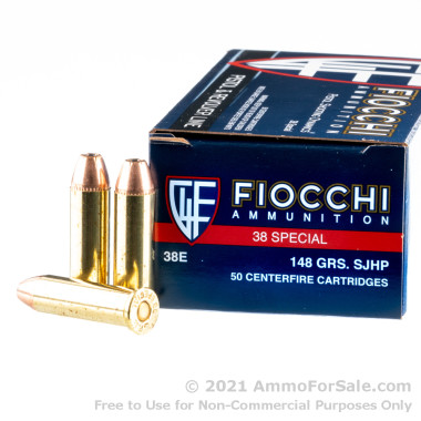 50 Rounds of 148gr SJHP .38 Spl Ammo by Fiocchi