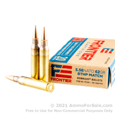 20 Rounds of 62gr BTHP Match 5.56x45 Ammo by Hornady