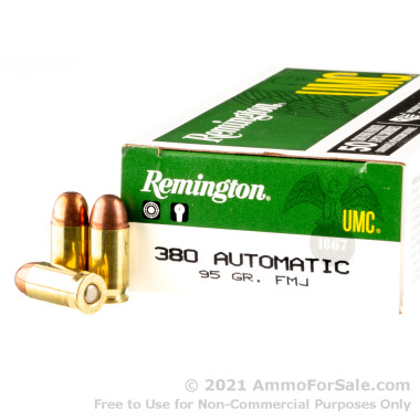 50 Rounds of 95gr MC .380 ACP Ammo by Remington