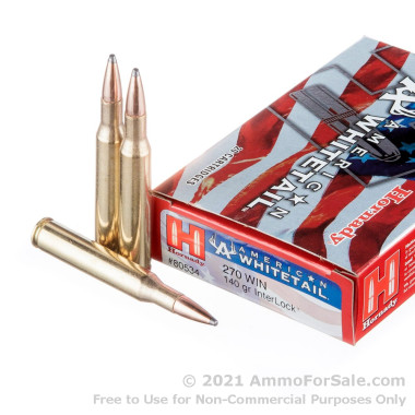 20 Rounds of 140 Grain InterLock .270 Win Ammo by Hornady American Whitetail