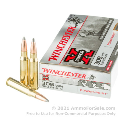 20 Rounds of 180gr PP .308 Win Ammo by Winchester