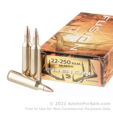 20 Rounds of 55gr SP .22-250 Rem Ammo by Federal Fusion