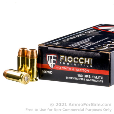 50 Rounds of 180gr FMJ .40 S&W Ammo by Fiocchi