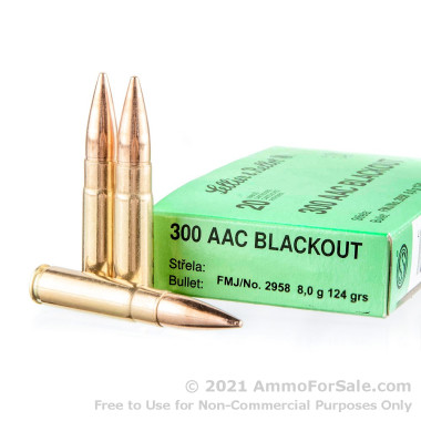 1000 Rounds of 124gr FMJ .300 AAC Blackout Ammo by Sellier & Bellot