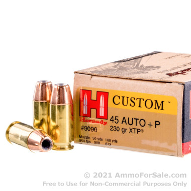 200 Rounds of 230gr JHP .45 ACP Ammo by Hornady