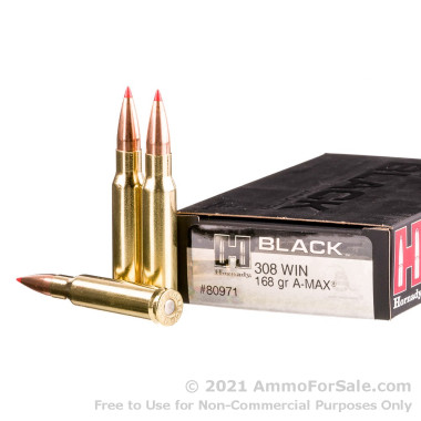 200 Rounds of 168gr A-MAX 308 Win Ammo by Hornady