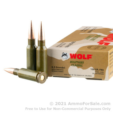 500  Rounds of 100gr FMJ 6.5mm Grendel Ammo by Wolf Military Classic