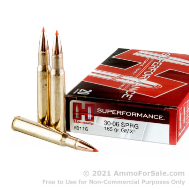 20 Rounds of 165gr GMX 30-06 Springfield Ammo by Hornady Superformance