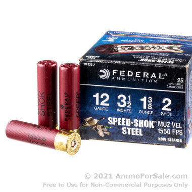 """250 Rounds of 1 3/8 ounce #2 Shot (Steel) 12ga 3-1/2"""" Ammo by Federal"""