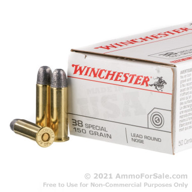 50 Rounds of 150gr LRN .38 Spl Ammo by Winchester