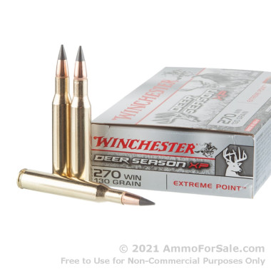20 Rounds of 130gr Polymer Tipped .270 Win Ammo by Winchester Deer Season XP