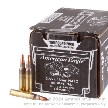 150 Rounds of  55 Grain FMJ 5.56x45 Ammo by Federal American Eagle